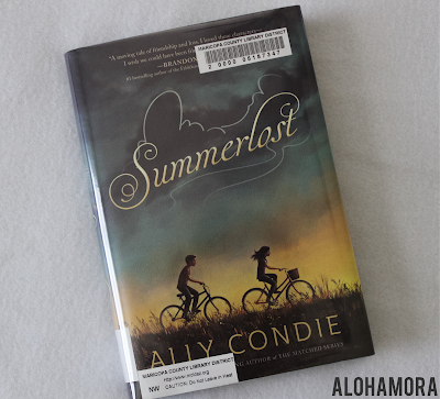 Summerlost by Ally Condie a fun juvenile lit/middle grade fiction realistic fiction book boys and girls alike will enjoy.  I give this book 4.5 out of 5 stars in my book review.  Alohamora Open a Book http://alohamoraopenabook.blogspot.com/