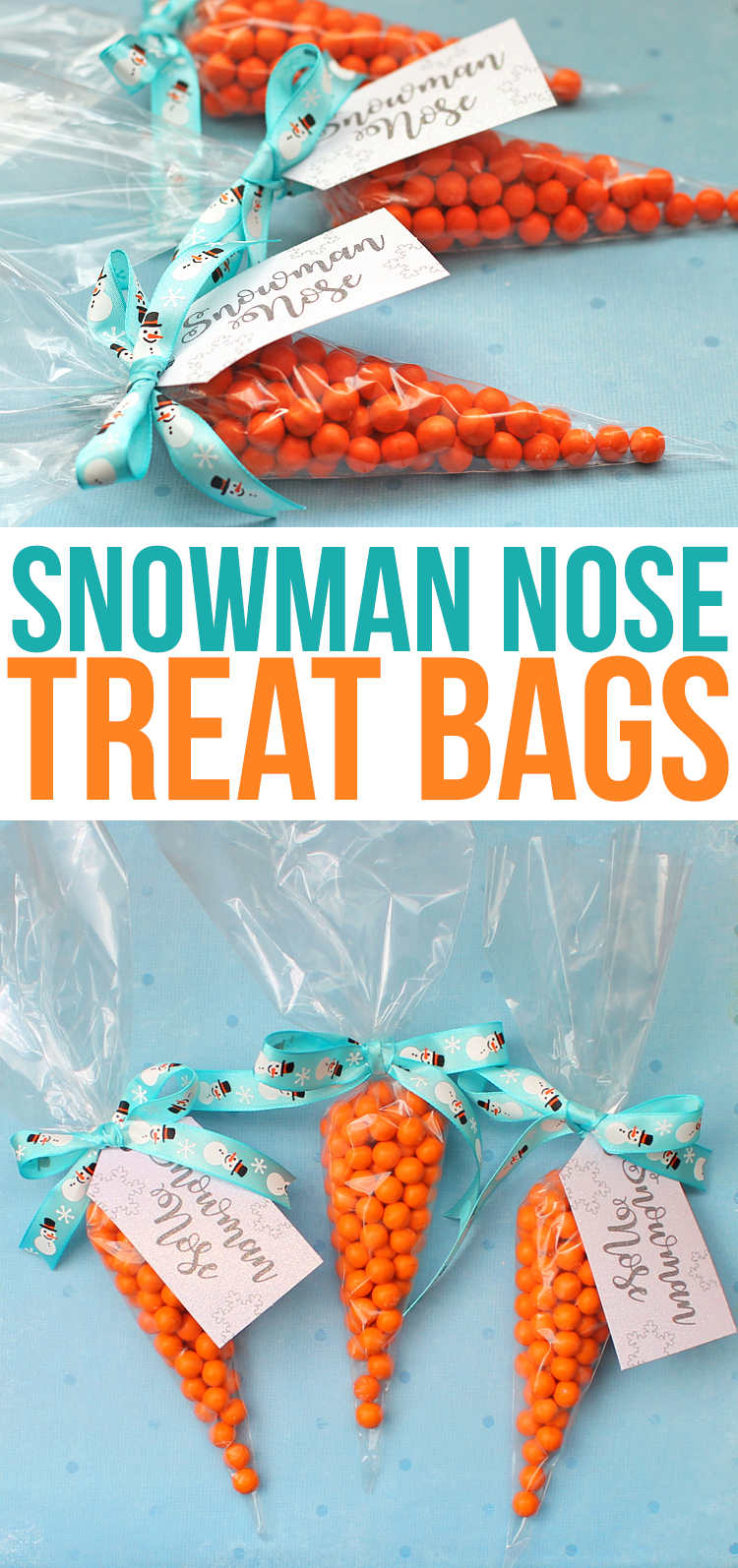 Snowman Nose candy treat bags are a simpe and cute punny Christmas gift idea perfect for giving to children at Christmas. I'm making these for my kids class party! #christmasgiftideas #christmas #snowman