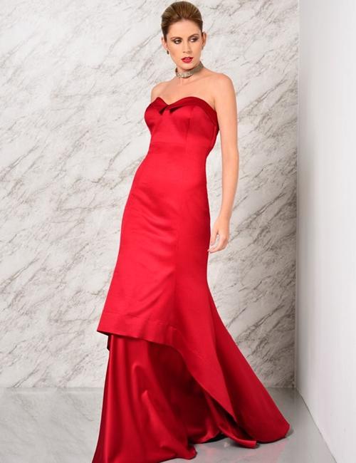 vestido longo  vermelho sem bordado
