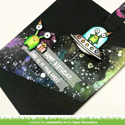 Take Me to Your Cake Card by Samantha Mann for the Lawn Fawnatics Challenge Blog, Lawn Fawn, Galaxy, Distress Paint, Birthday Card, #birthday #alien #ufo #galaxybackground #handmadecard #card #lawnfawn