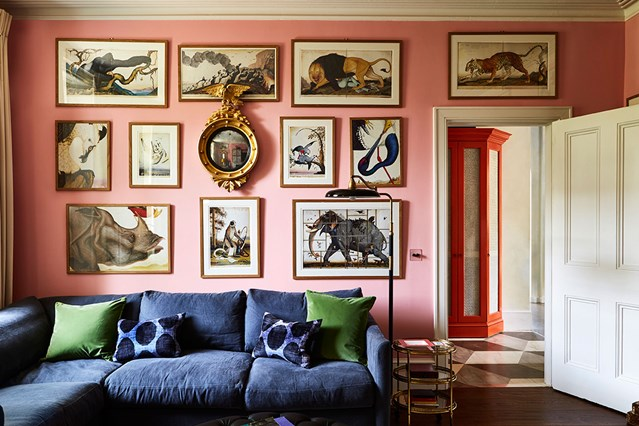 That pink wall is the perfect backdrop for the gallery wall- design addict mom