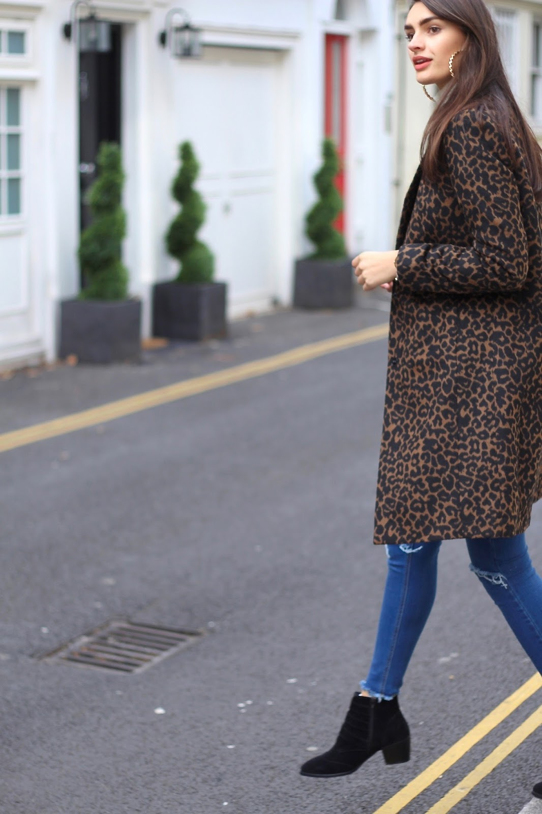 peexo new look leopard print coat