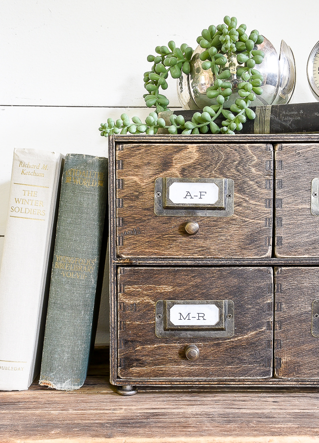 Ikea Moppe faux card catalog hack