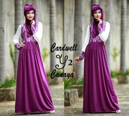 Tren kombinasi gaun pesta muslim untuk remaja putri