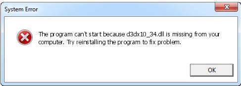 Télécharger D3dx10_34.dll Fichier Gratuit Installer