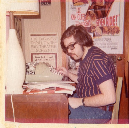 1970s Dads - the original hipsters. Dad at a desk using a typewriter. The New Dad. marchmatron.com