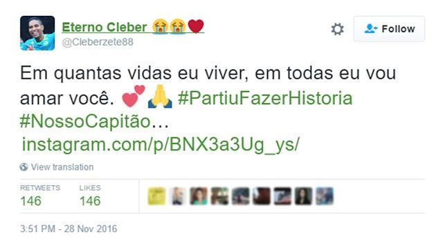 Este es el último mensaje que el capitán brasileño envío a su esposa justo antes de morir. Te partirá el corazón 2016 11 28 Twitte 2