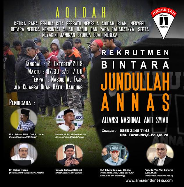 Dibuka Rekrutmen Anggota Bintara Jundullah ANNAS untuk Ikhwan & Akhwat, KLIK DISINI