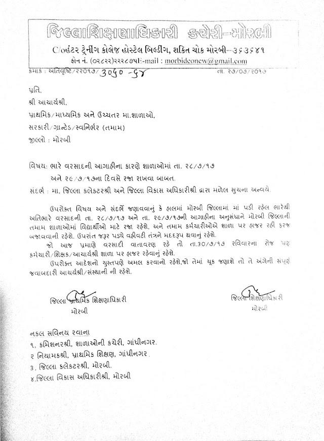 Bhare Varsad Na karne Tarikh 28/29 july na roj Shalaoma Raja Rakhvi : Morbi