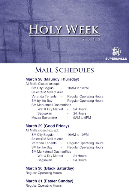 Holy Week 2013 SM Mall Schedule