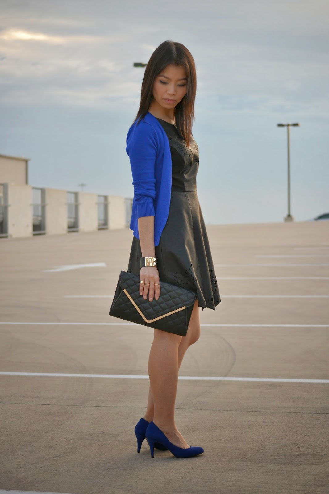 87872d6f006 Style and Cappuccino   Black and blue   Laser cut dress   cobalt sweater