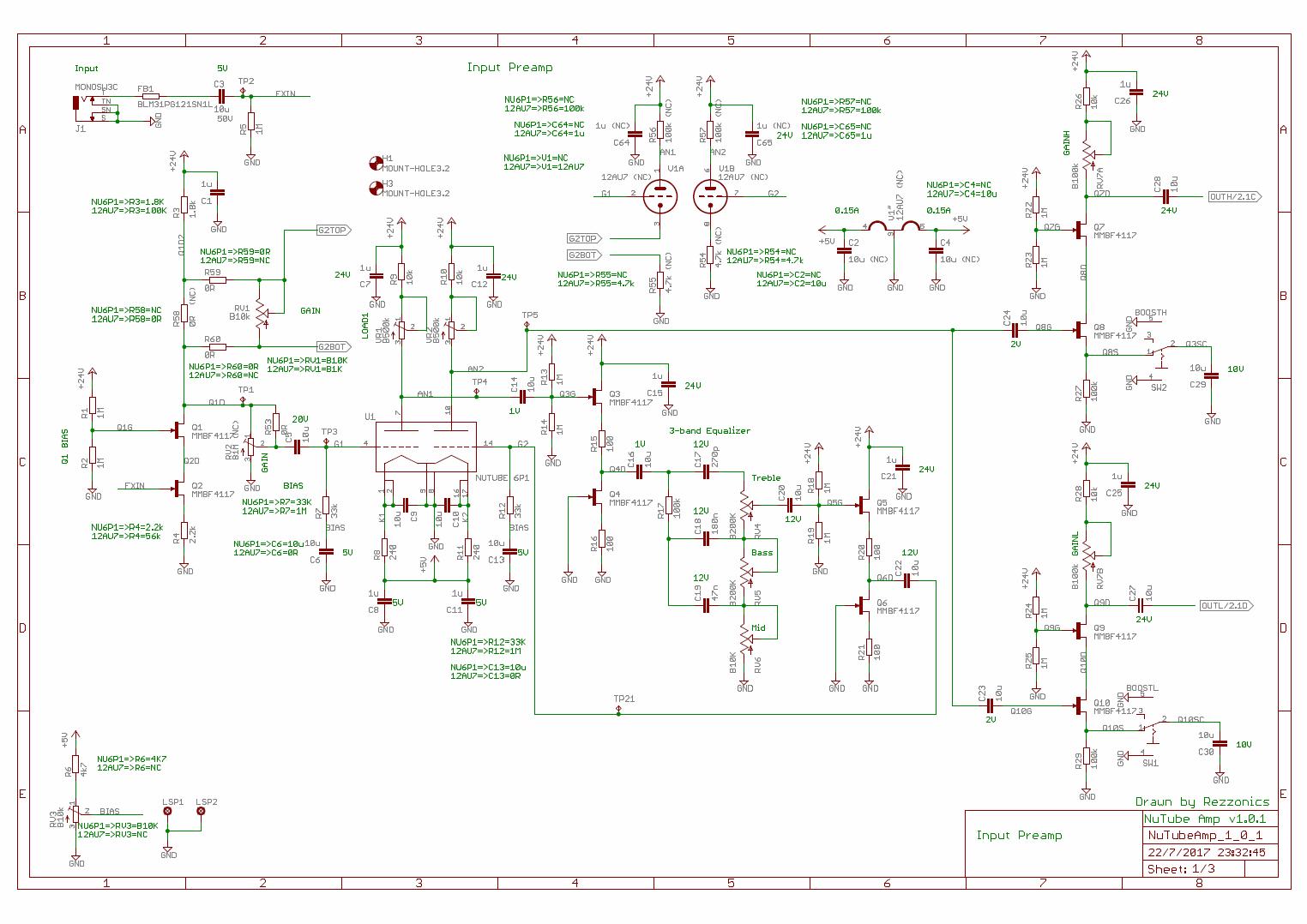 Rezzonics Korg Nutube 6p1 Vs 12ax7 Tube Hybrid Amplifier 3 Schematics Page 1 Input Preamp