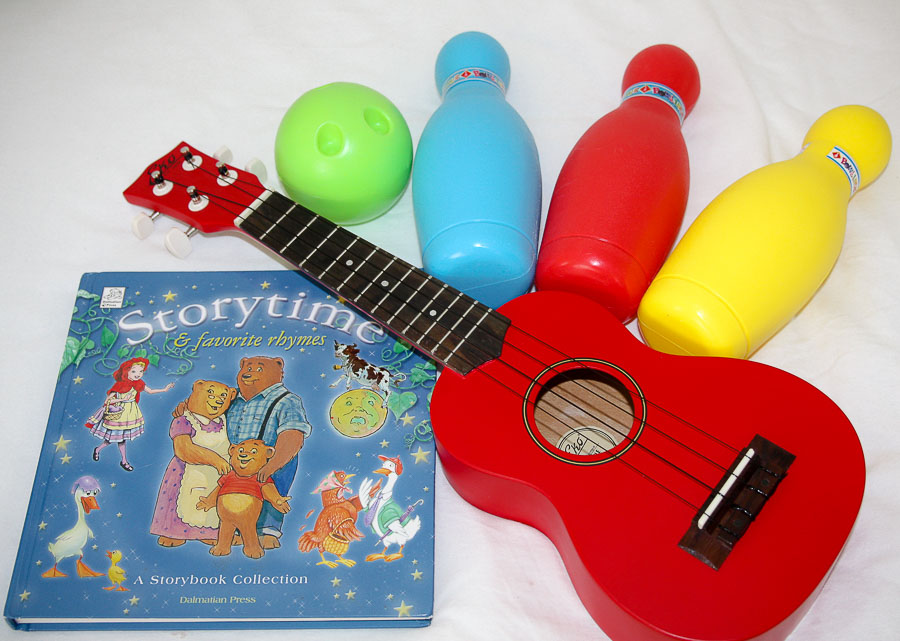 guitar, storybook, bowling