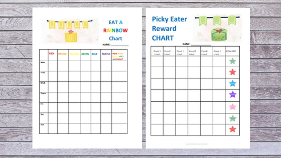 Meal planning for picky eaters kids printables. Picky eaters reward chart and eat a rainbow chart