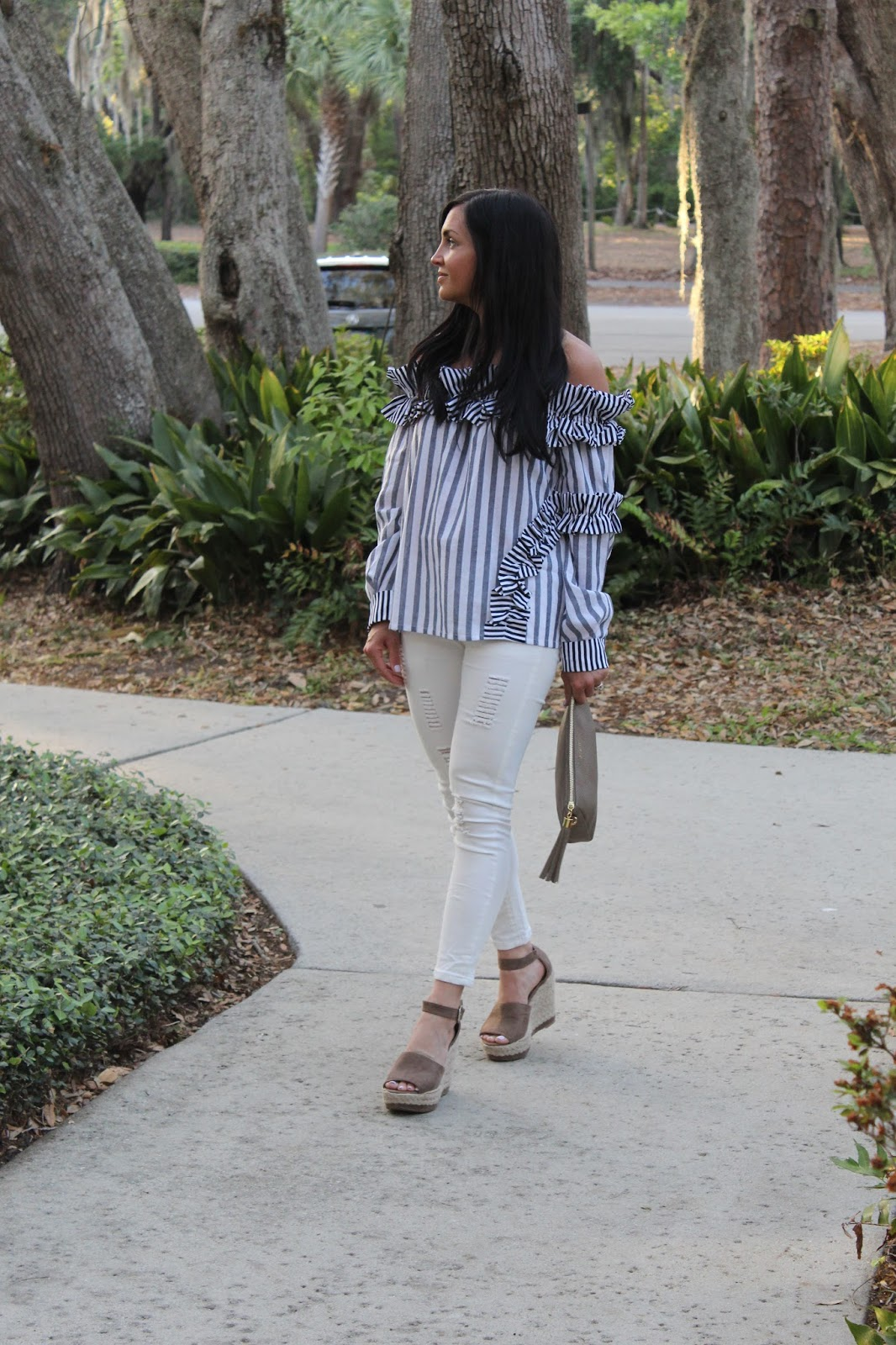 Stilettos and Diapers, Stripes, ruffles off the shoulder, espadrille wedge dupes