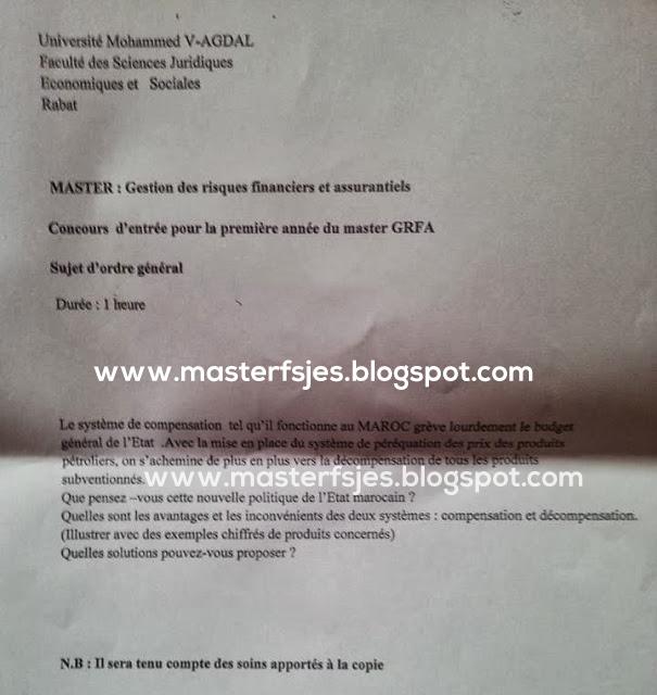 Concours d'accès au Master Gestion des Risques Financiers et Assurantiels (GRFA) 2013-2014