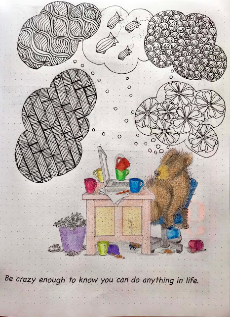 Tangle Starts Planner page of a sleeping Teddy Bear at his desk - dreaming of tangles