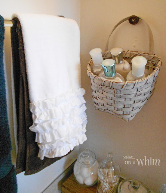 Painted Thrift Store Basket for Lotions | Vintage Farmhouse Bathroom Makeover | Denise on a Whim