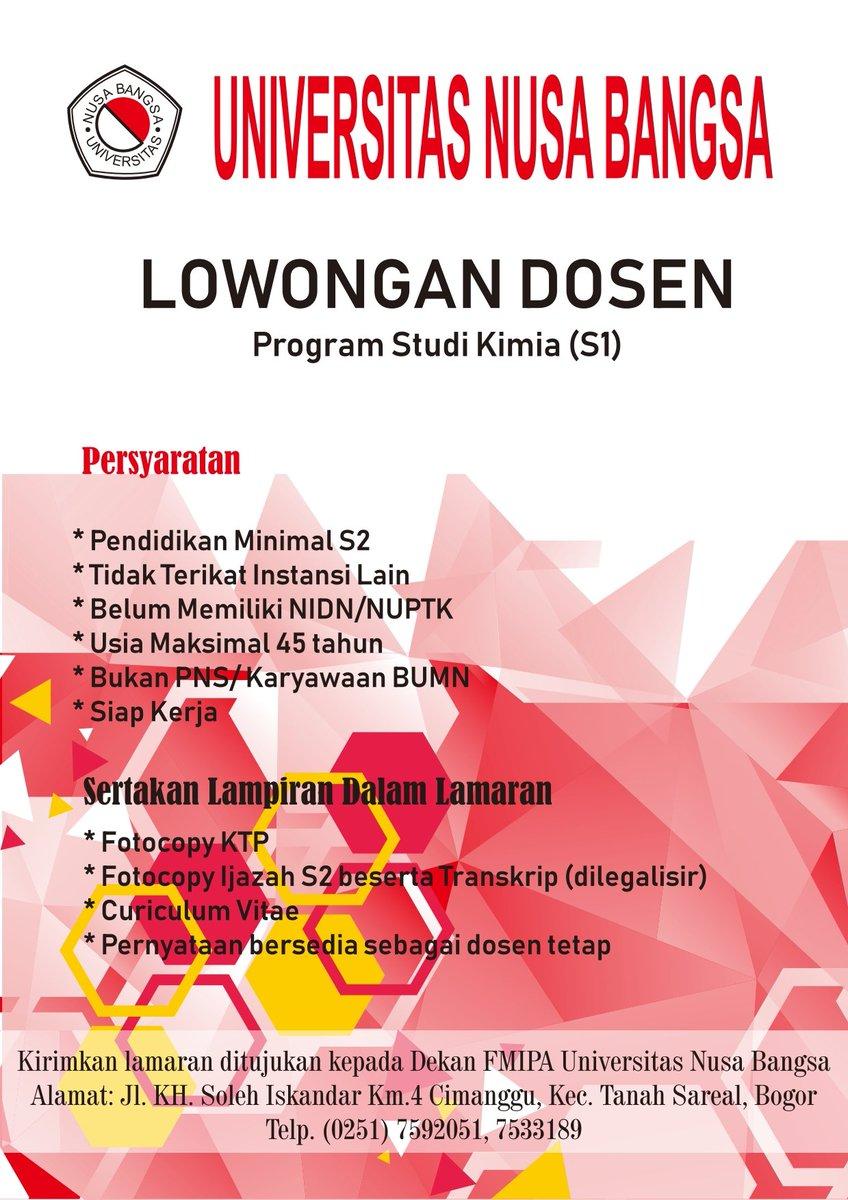 Lowongan Dosen Kimia Universitas Nusa Bangsa (UNB) Bogor
