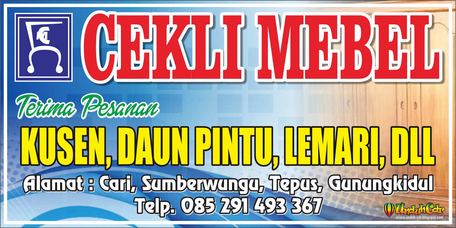 Desain Spanduk/Banner Cekli Mebel File Cdr   Omah Corel