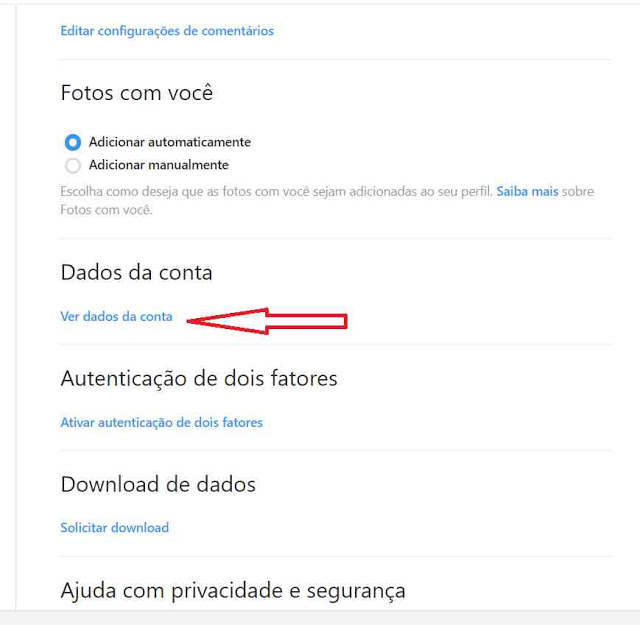 Dados da conta do Instagram