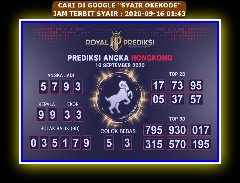 Kode syair Hongkong Rabu 16 September 2020 204