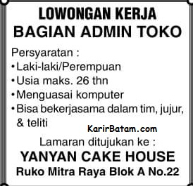 Lowongan Kerja Yanyan Cake House