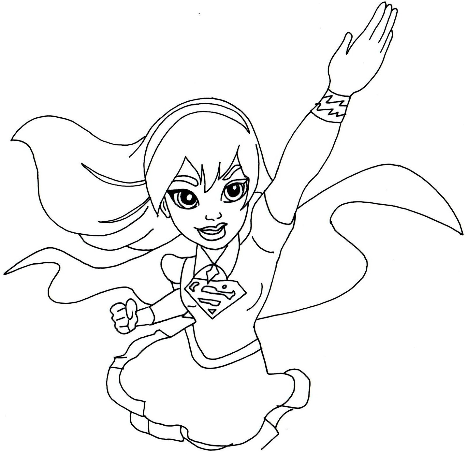 It's just a graphic of Bewitching Super Girl Coloring Pages