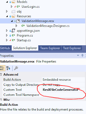 DotnetCore Web API model validation message from resource file