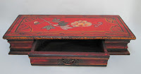 4332 HP Wood Box With Drawer Red with Flowers drawer open