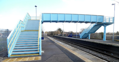 The modern footbridge at Brigg railway station which replaced a Victorian cast iron structure - picture taken February 2019