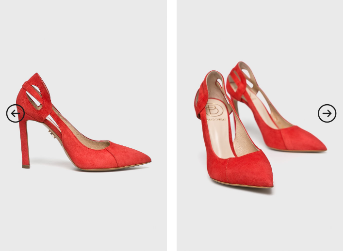 Baldowski - Pantofi cu toc inalt eleganti rosii din piele cu decupaje