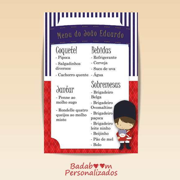 menu, soldadinho de chumbo, arte digital, badaboom personalizados