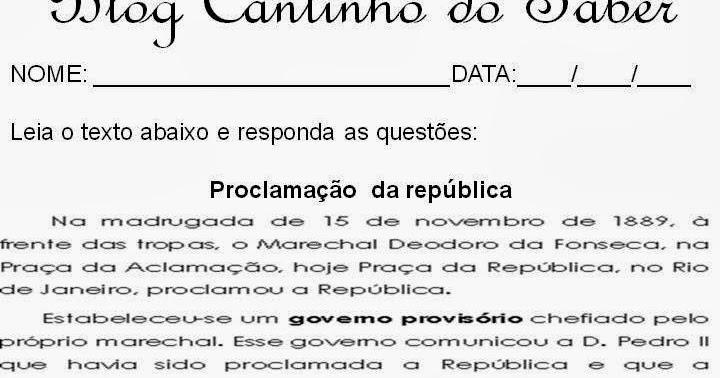 23 09 B 1 Atividades Preparatórias 2 Ofertas: Notícias Ponto Com : Atividades Proclamação Da República 5