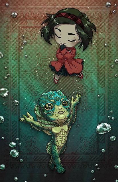 Eliza Esposito oraz Człowiek amfibia z filmu Kształt wody jako postacie chibi z anime