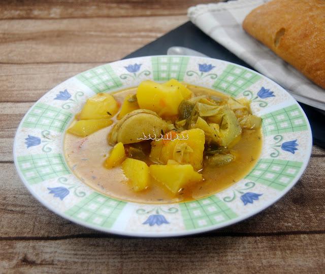Patatas Guisadas con Alcachofas