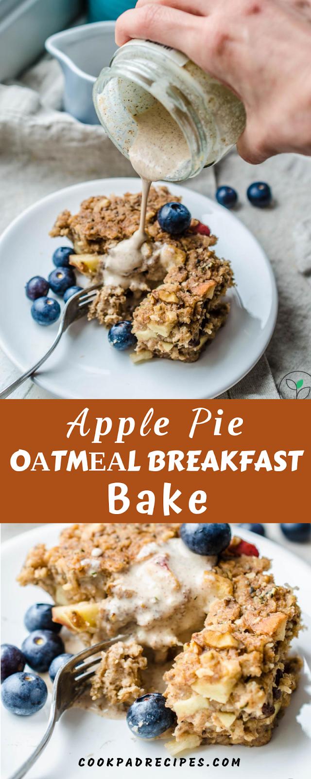 Healthy Apple Pie Oatmeal Breakfast Bake- Breakfast, Brunch & Dessert Are Served.