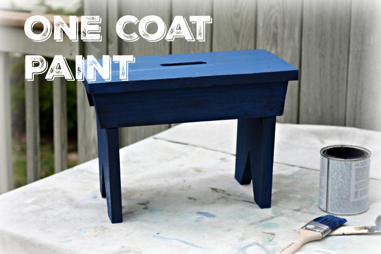 One coat of Napoleonic blue chalk paint drying
