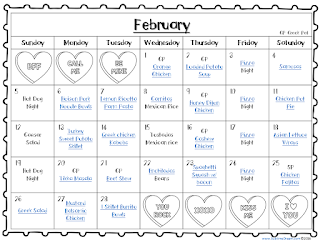 Free editable Meal calendar for February- prefilled with dinner recipe pins!