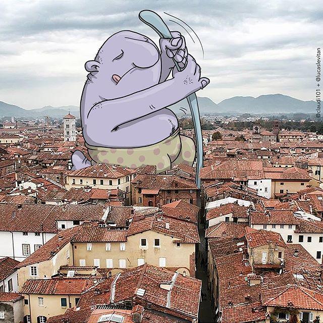 foto unik lucu kreatif dan inovatif foto asli yang dipadukan dengan kartun-4
