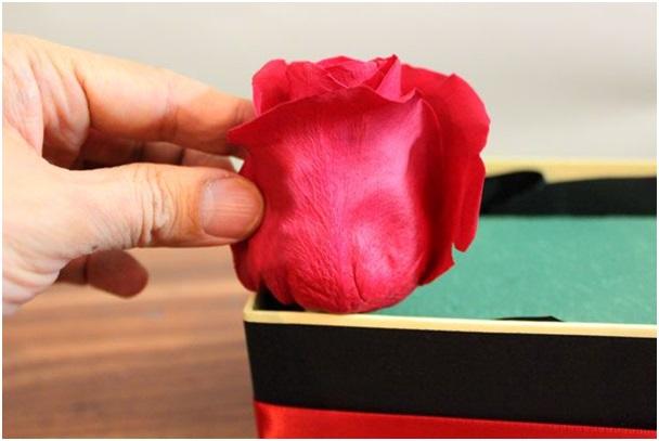 Kız arkadaşa el yapımı romantik gül kutusu