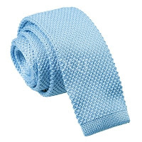 MENS KNITTED BABY BLUE SQUARE END TIE