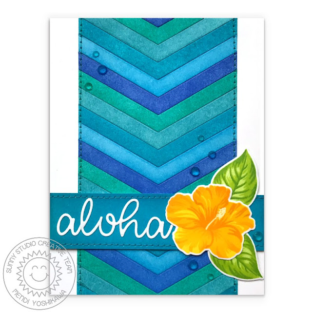 Sunny Studio Stamps: Hawaiian Hibiscus Yellow & Aqua Aloha Layered Flower Card (with background using Frilly Frames Chevron Dies)
