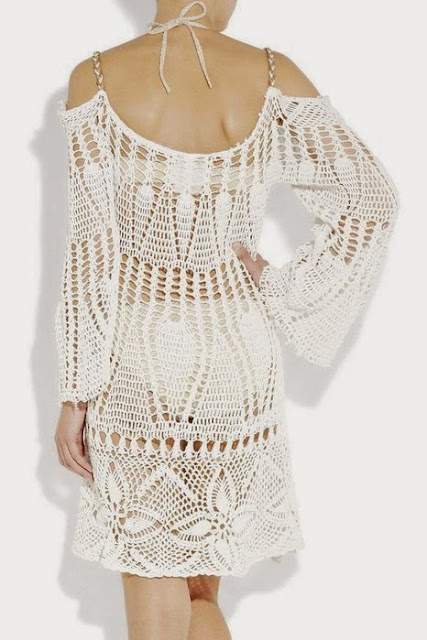vestido, blanco, tejer, crochet, patrones, ganchillo, Ibiza, Spain