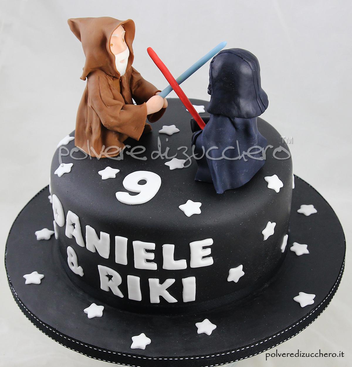 Famoso Torta compleanno Star Wars: Darth Vader e Obi Wan Kenobi  FY74