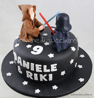 star wars torta pasta di zucchero cake design darth vader obi wan kenobi polvere di zucchero star wars cake