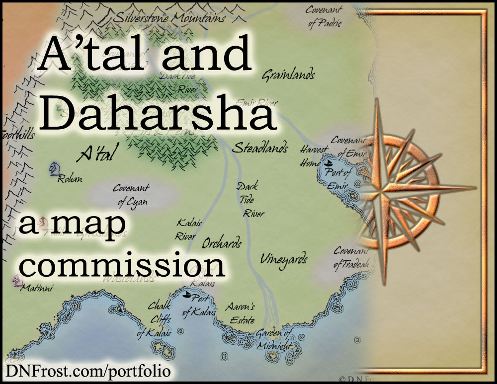 A'tal and Daharsha: fantasy realm of Morgyn Star http://www.dnfrost.com/2015/06/atal-and-daharsha-map-commission.html A map commission by D.N.Frost @DNFrost13 Part 1 of a series.
