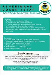 Lowongan Kerja Lampung Terbaru April 2017 Dari POLITEKNIK DINIYYAH LAMPUNG
