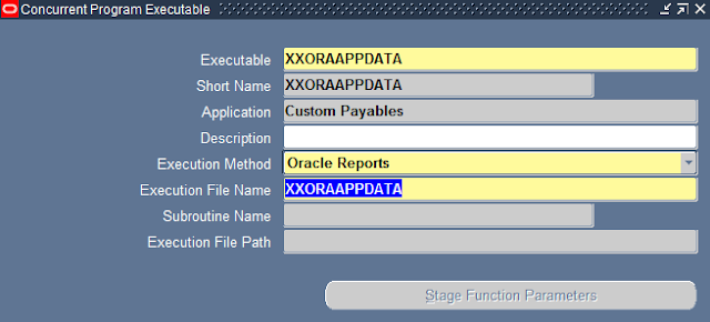 Complete Executables screen in oracle applications