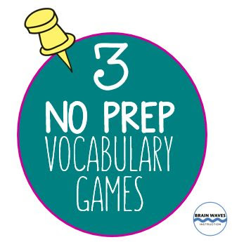 Ready to make mastering vocabulary fun?  Then, check out this set of 3 No-Prep Vocabulary Games!  Students love them!  Plus, there's an exclusive FREEBIE with everything you need to play!
